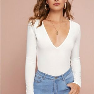 Plunging Neck White Top